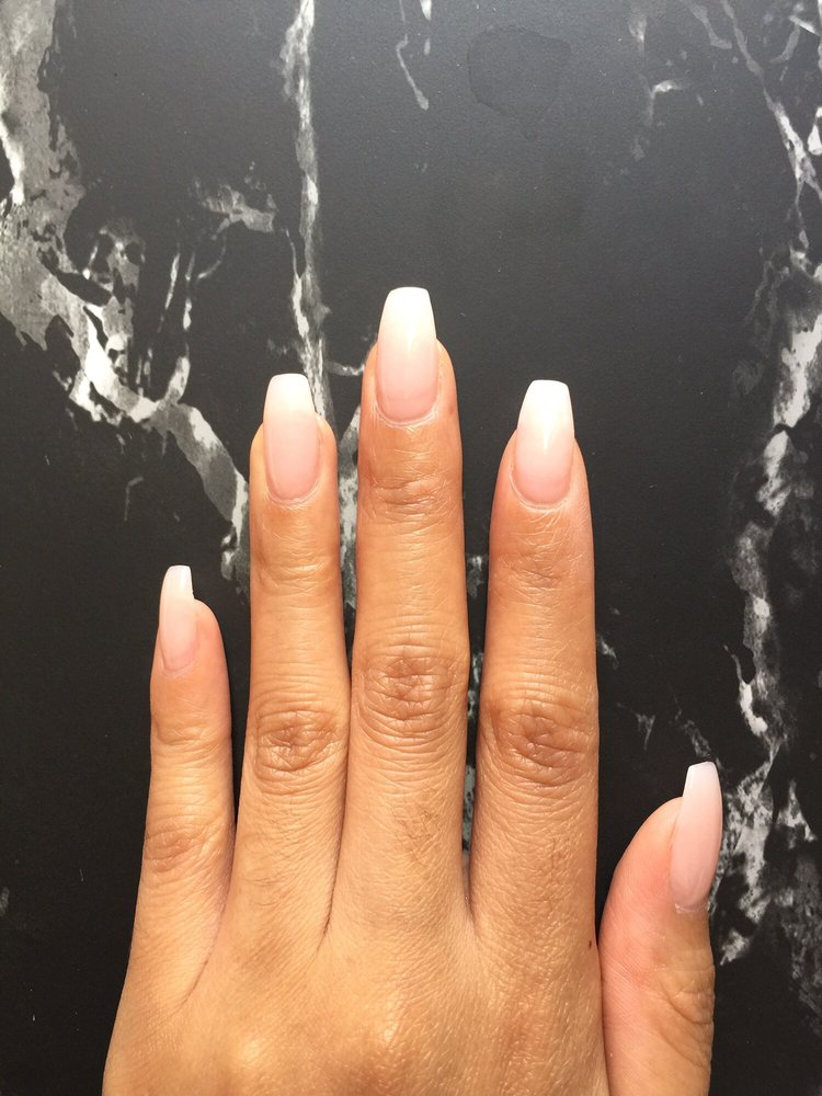 I showed a picture of nude/natural/clearish nails. Shape: coffin ...