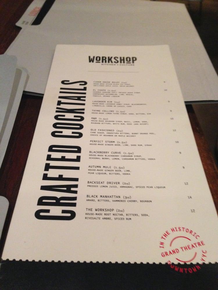Workshop Kitchen Calgary Menu