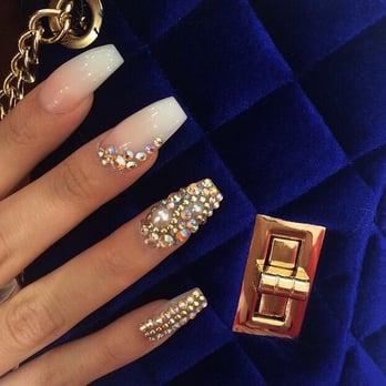 Coffin shape diamond nails design , Yelp
