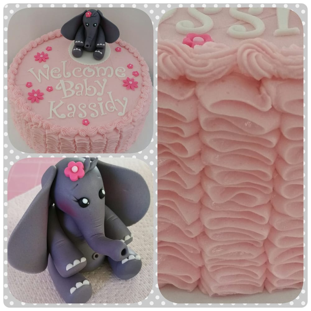 Pink Ruffle Baby Shower Cake With Elephant Fondant Topper
