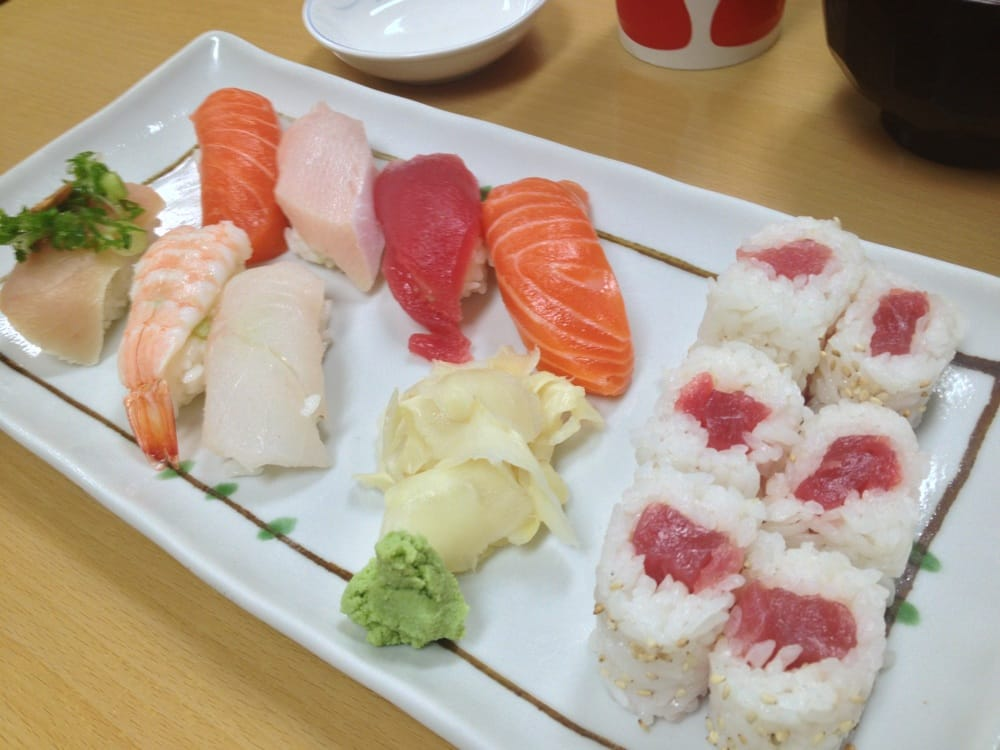 Nigiri sushi combination tuna yellowtail salmon for Yellowtail fish sushi