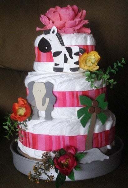 Baby Girl Jungle Safari Themed Diaper Cake Yelp
