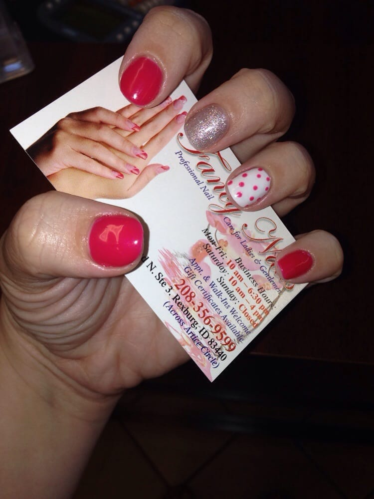 Gel manicure! Hot pink nails, silver middle, and polka dot ring! - Yelp