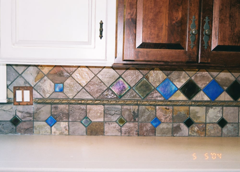Kitchen Backsplash Slate Tiles With Glass Tile Inserts Yelp