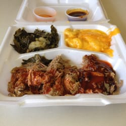 Backyard BBQ Pit - Pulled pork, collard greens and Mac and ...