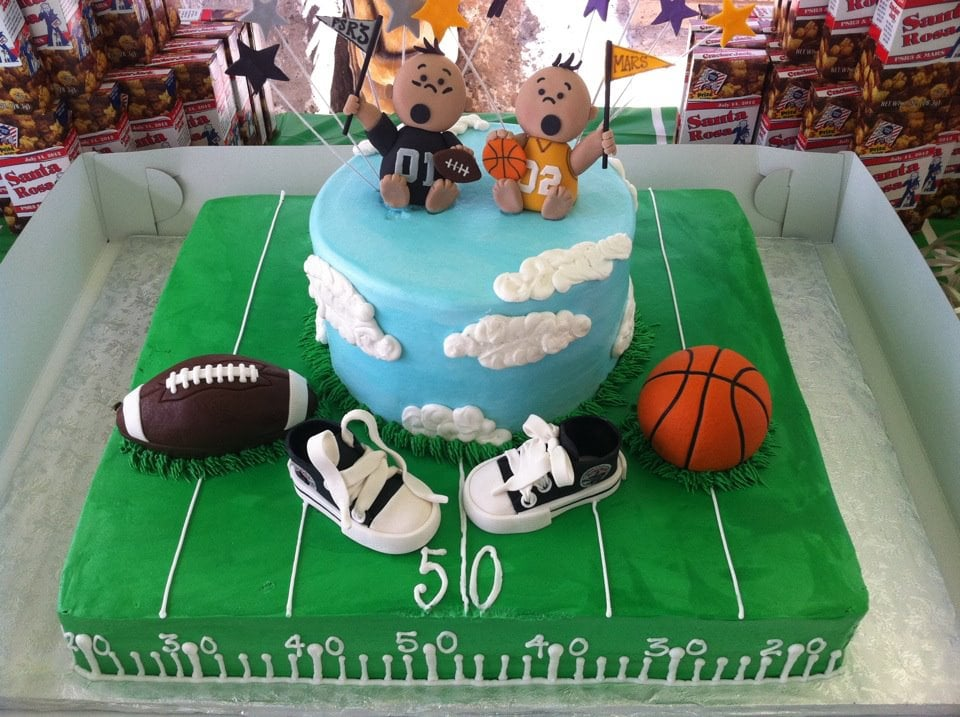 Baby Shower Cake On 7 14 12 For Twin Boys Matched Our