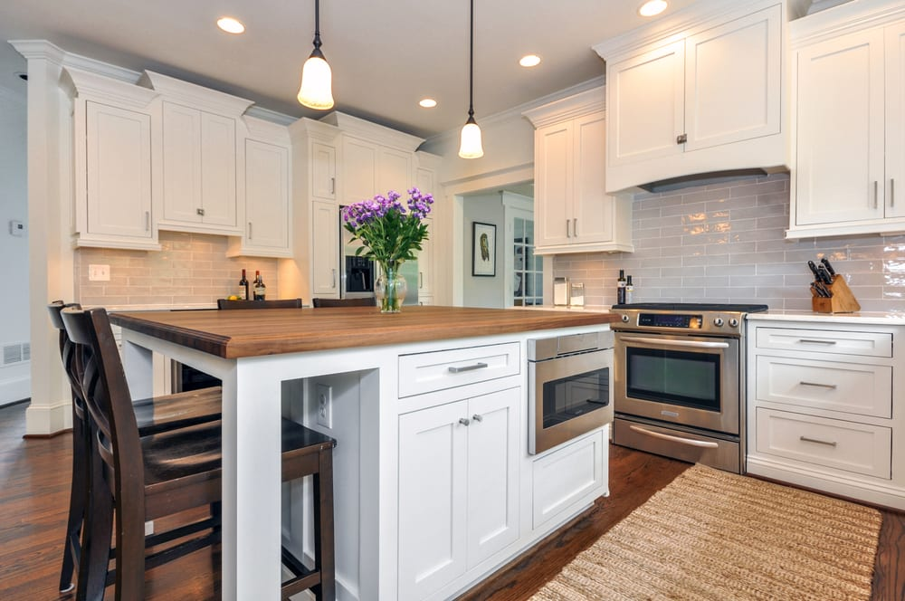 White Island with built-in microwave drawer, decorative ...