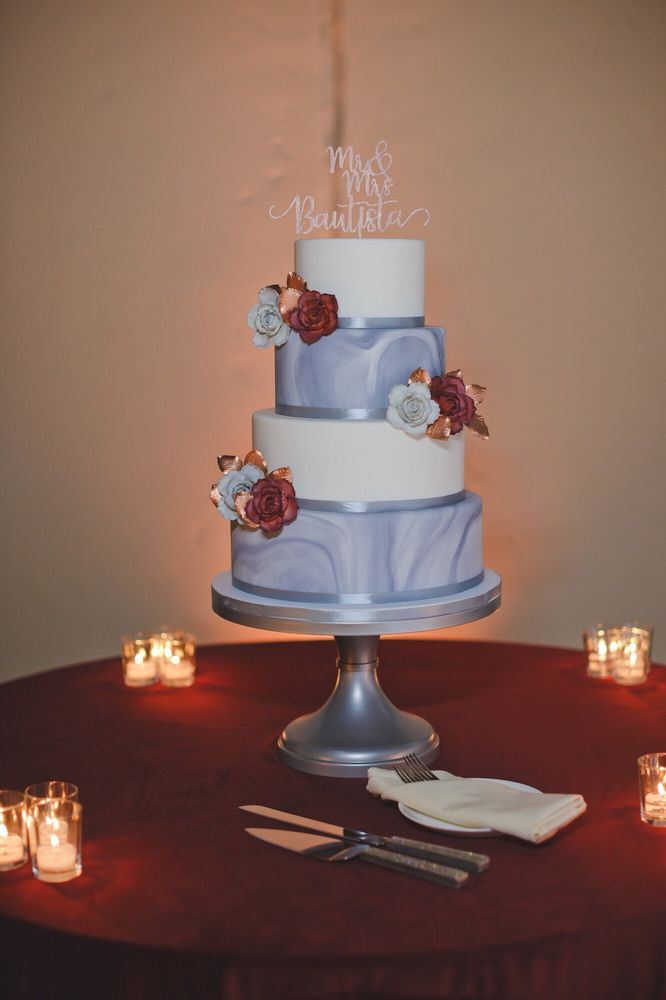 Marble Cake With Burgundy Flowers And Rose Gold Leaves To Match My