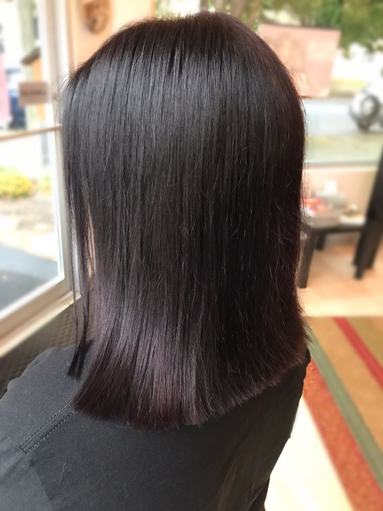 The Prettiest Deep Brown Color With Reddish Purple Tint And Blunt