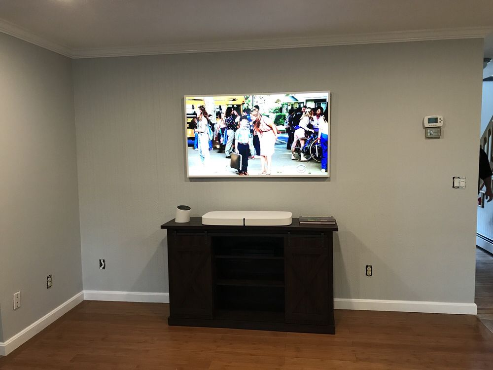 Samsung picture frame tv flush install with Sonos system and all my ...