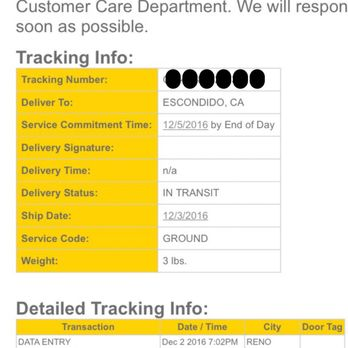 Ontrac tracking not updating