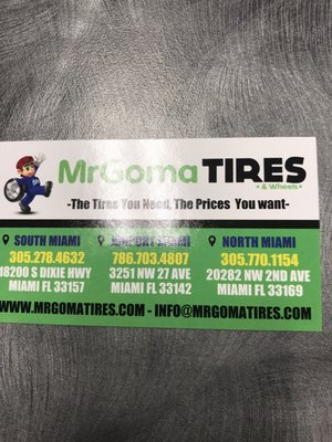 Mr Goma Tires Wheels 20282 Nw 2nd Ave Miami Fl Tire Dealers