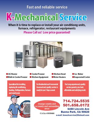 K Mechanical Service 6450 Lincoln Ave Buena Park, CA