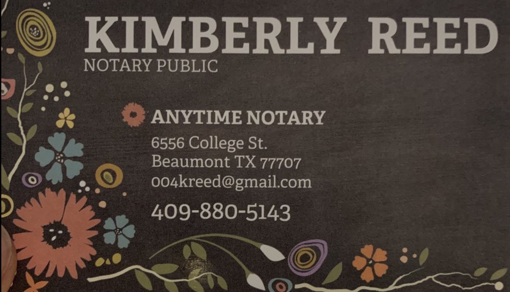 Anytime Notary: 6556 College St, Beaumont, TX