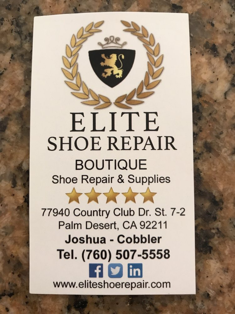 Elite Shoe Repair: 77940 Country Club Dr, Palm Desert, CA