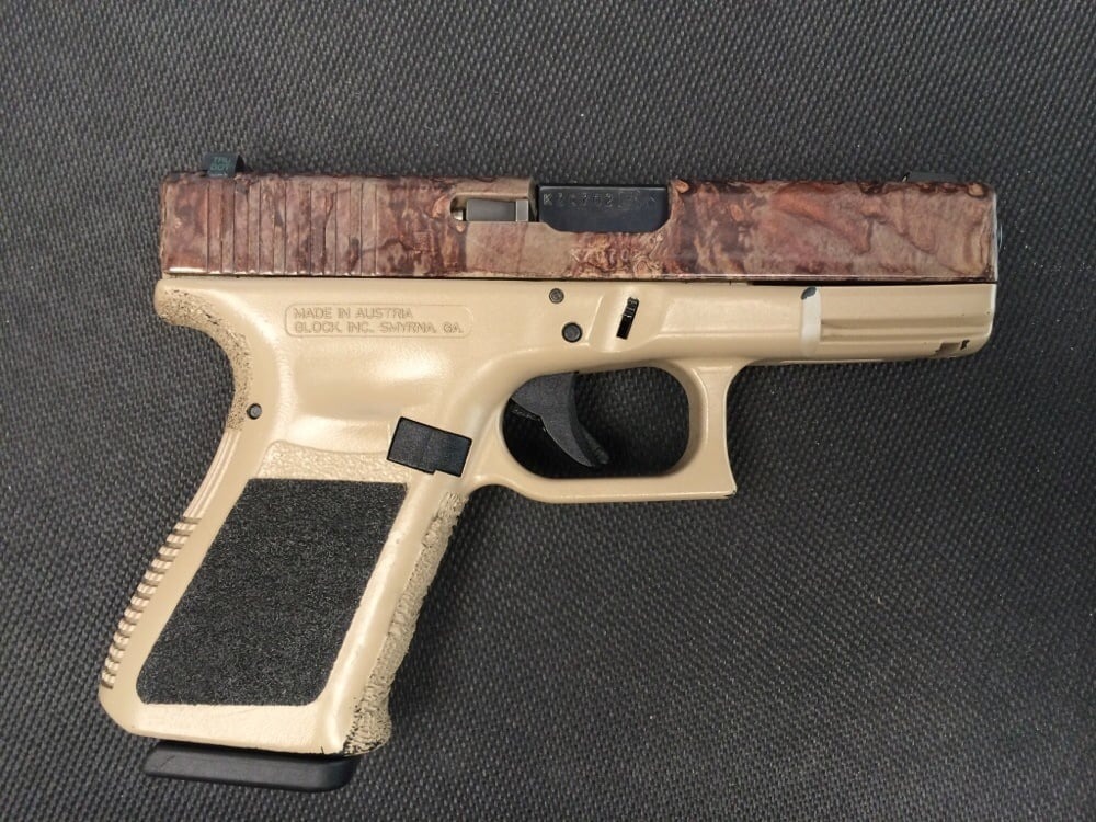 Glock 23 with hydrographic camo on the slide and coyote tan duracoat ...