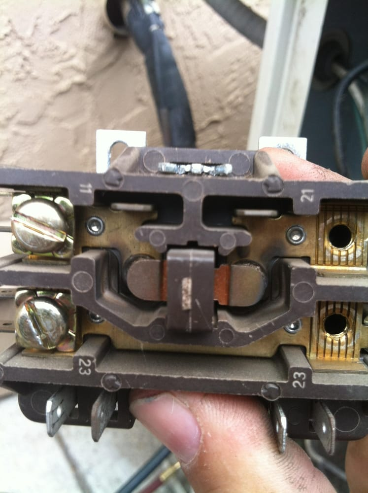 this is a picture of a burnt contactor that was found