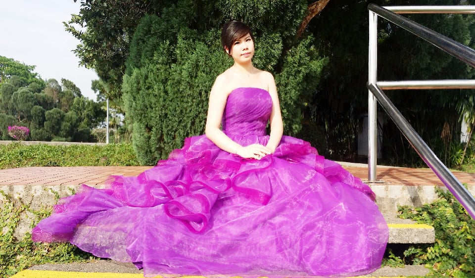 Purple tulle evening gown rental at affordable rate  Kindly