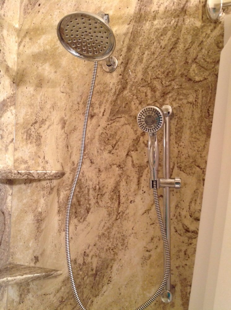 Guest bath with rain shower & extension hose with slide bar - Yelp