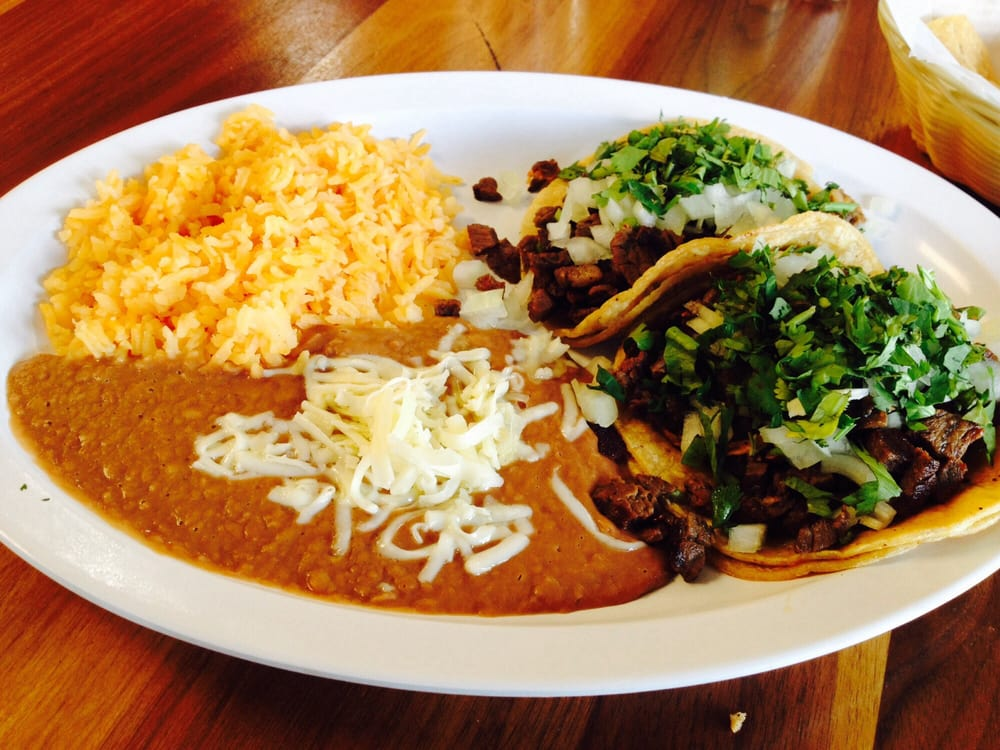 Lunch Special 2 Tacos Rice Beans For 6 59 Free Chips