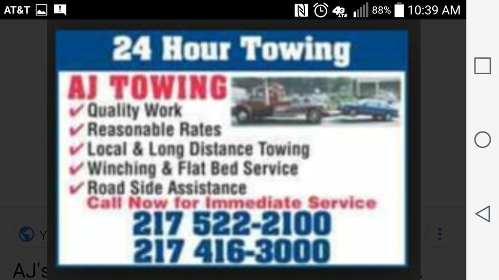 AJ's Towing: 2418 Old State Rd, Jacksonville, IL