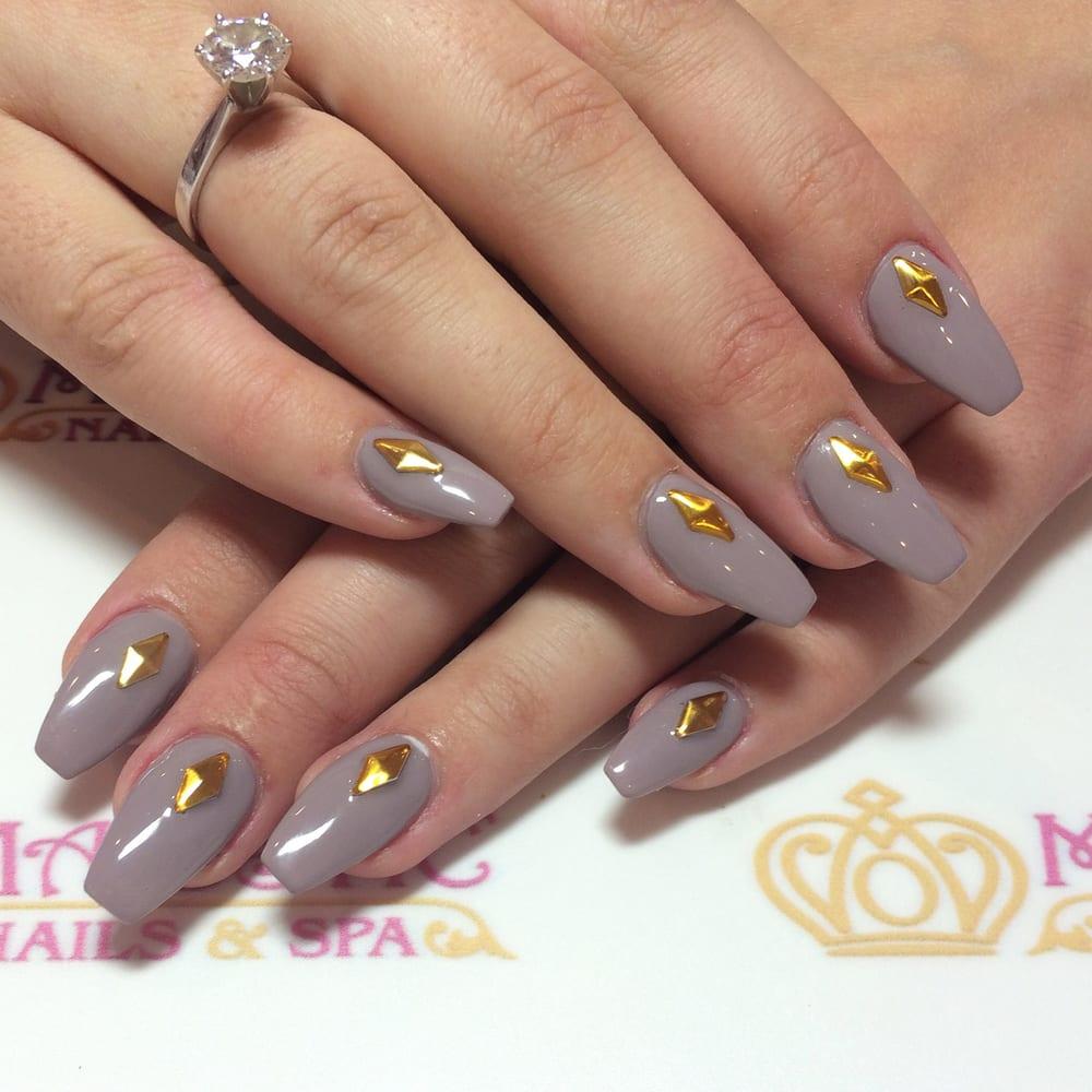 Gold studded acrylic nails. - Yelp
