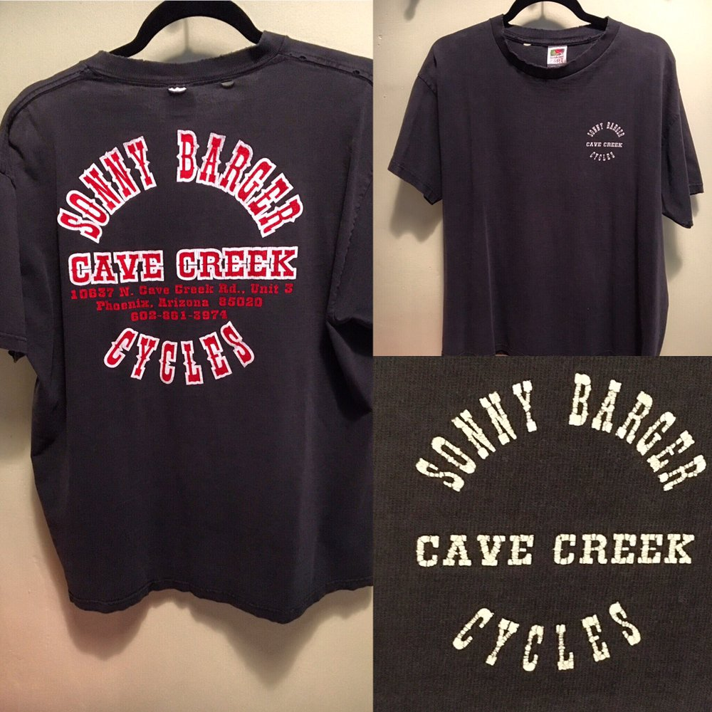 Vintage Sonny Barger (Hell's Angels) Cave Creek Cycles t-shirt! Worn