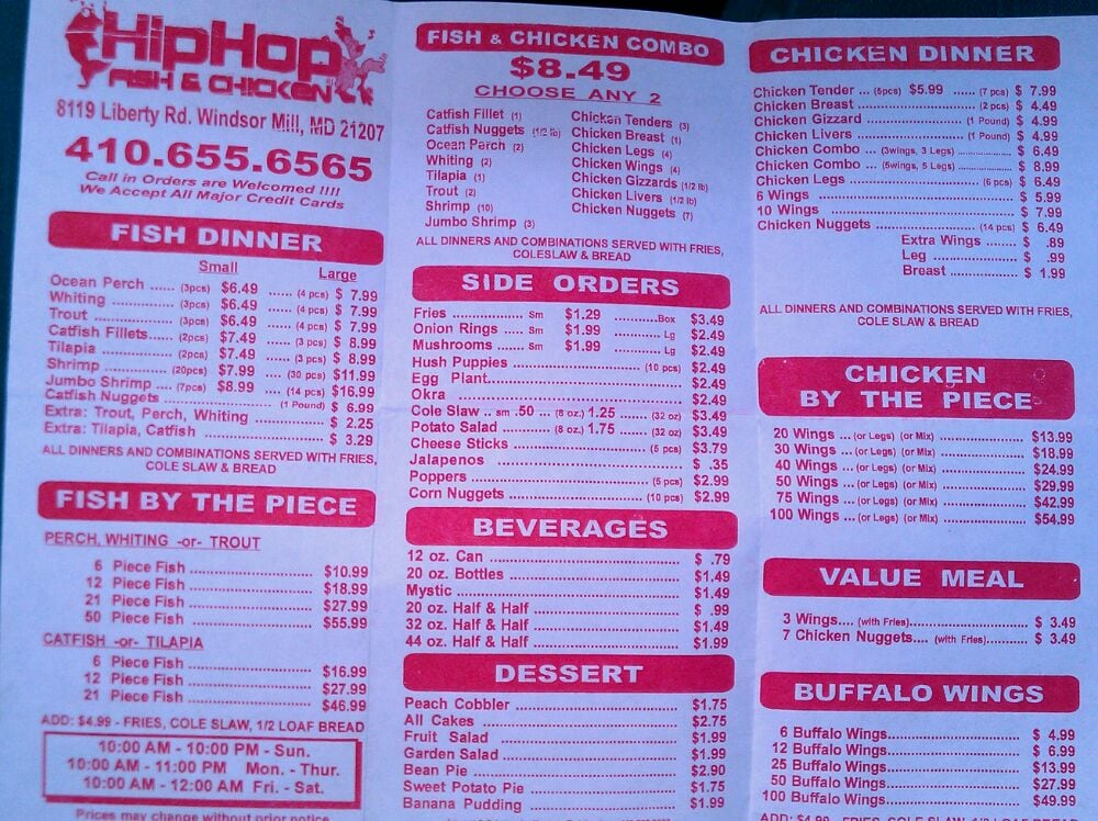 Menu yelp for Hip hop fish and chicken