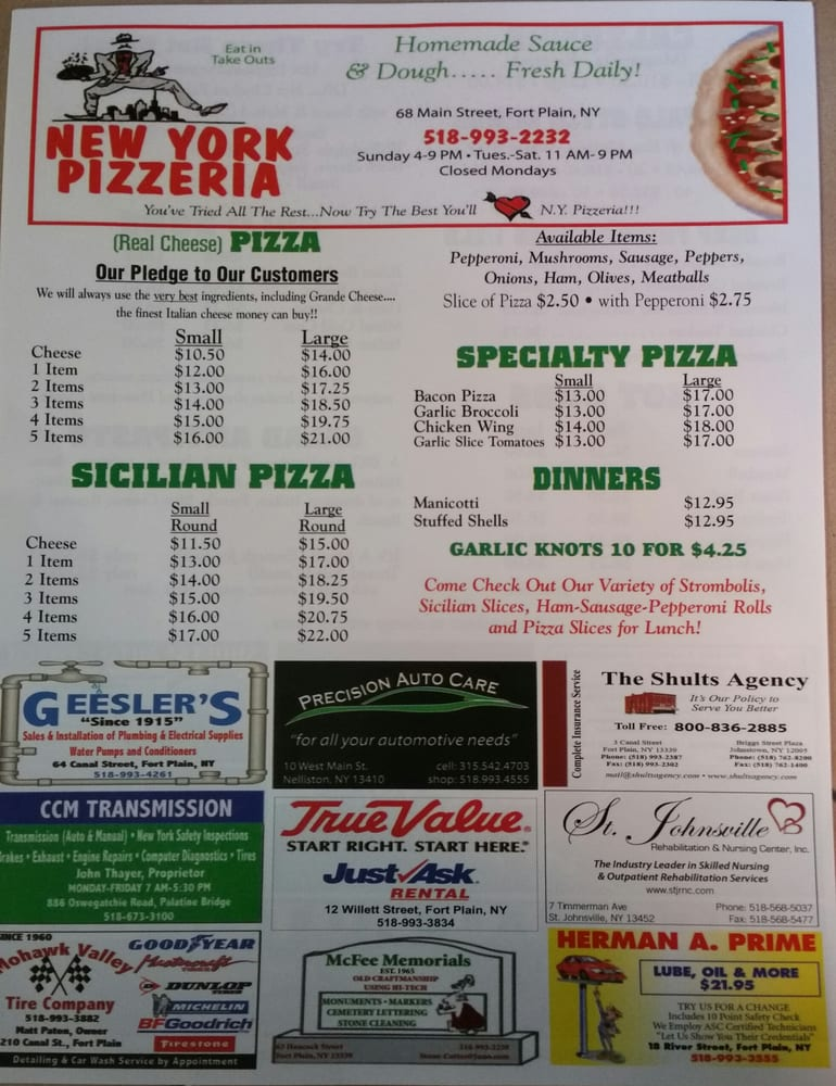 New York Pizzeria: 68 Main St, Fort Plain, NY