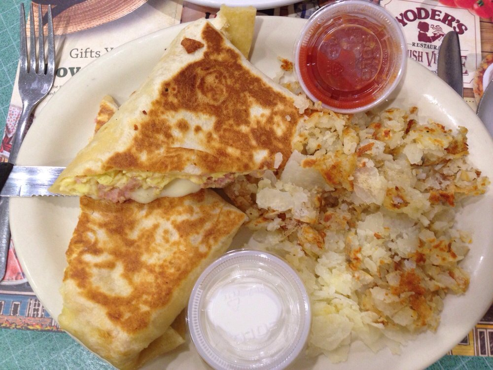 Ham Amp Swiss Cheese Breakfast Burrito With Sour Cream