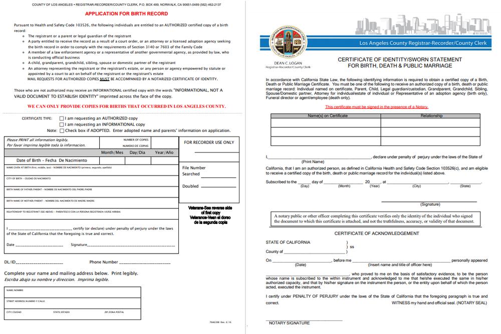 birth certificate sworn statement california