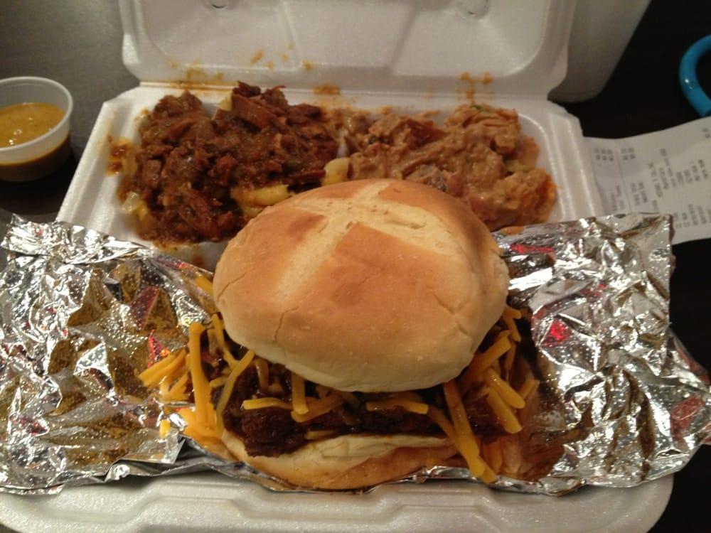 ... . Burnt ends sandwich, chili mac 'n' cheese, BBQ sweet potato salad