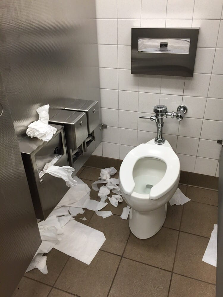 Second stall no toilet paper again pig sty asked for - Bathroom partition installers near me ...