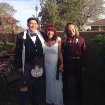 Photo of Life's Moments Weddings, Ceremonies and Celebrations - Rio Rancho, NM, United States. Bruce in his kilt, Tracy and I after our wedding