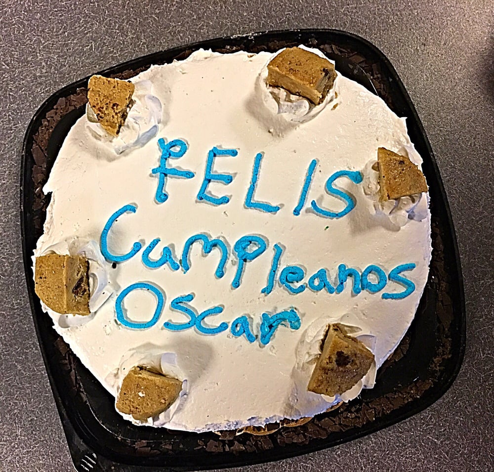 Ugly Birthday Cake From Cold Stone Creamery With The Word Feliz
