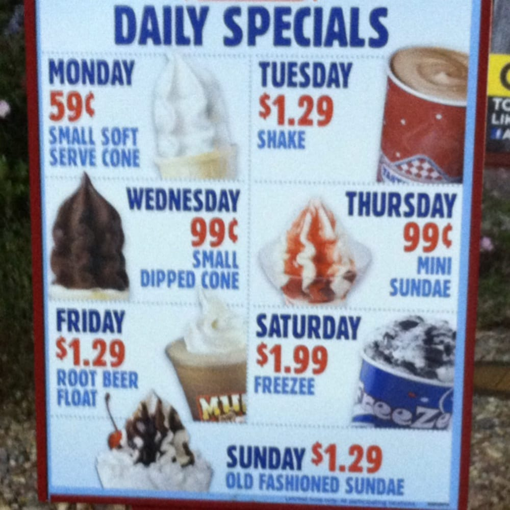 Daily Tastee Freez Specials Yelp