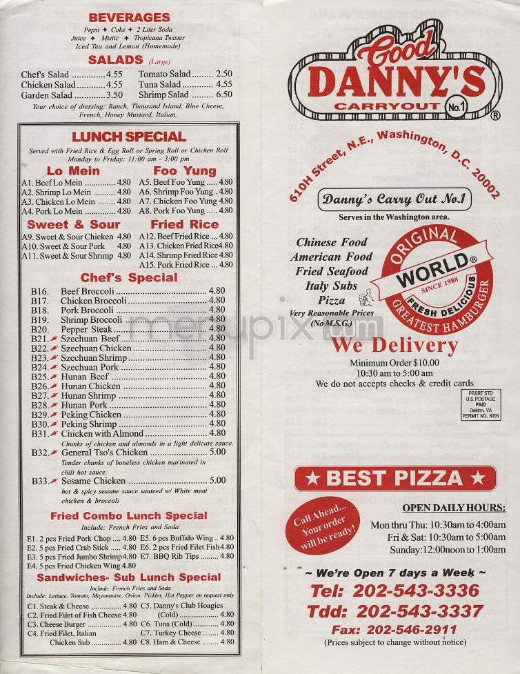 Good danny s carry out closed 27 reviews chinese for Carryout menu