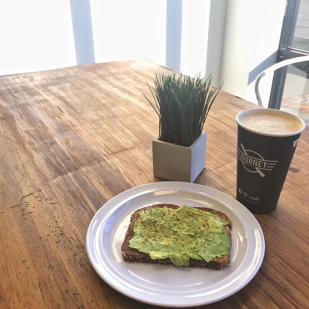 Avocado Toast And Oat Milk Lavender Latte