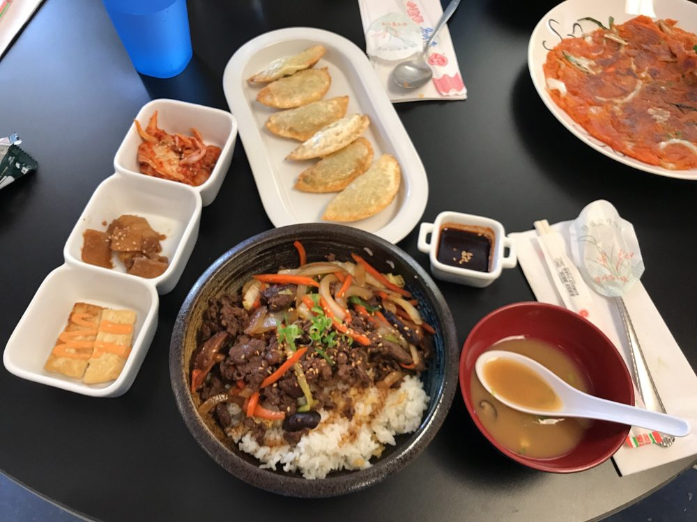 Bulgogi rice bowl, miso soup, dumplings, Korean sides ...