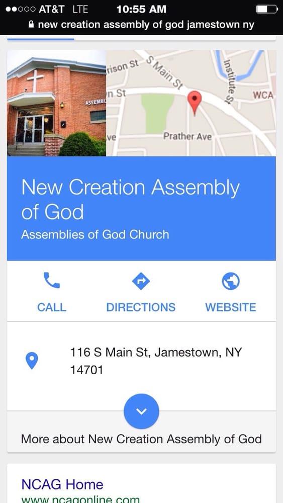 New Creation Assembly of God: 116 S Main St, Jamestown, NY
