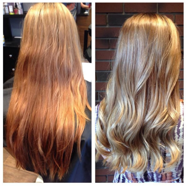 blonde hair color ash light brown over orange summer hair transformation color correction from