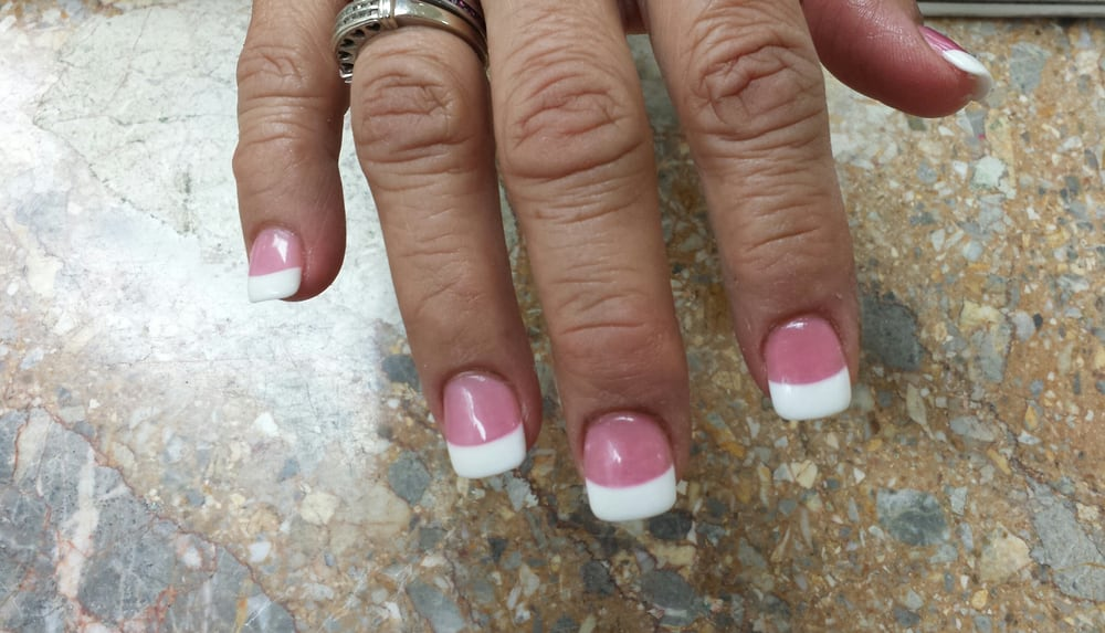Dark pink acrylic powder and white acrylic with with gel top coat - Yelp