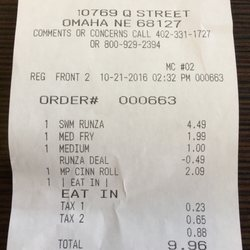 Photo Of Runza Omaha Ne United States That S The Receipt