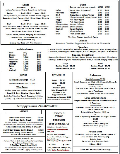 Scrappy's Pizza: 30 E 3rd St, Frazeysburg, OH