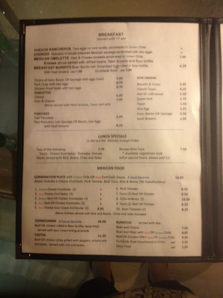 Amigo Cafe Kayenta Menu