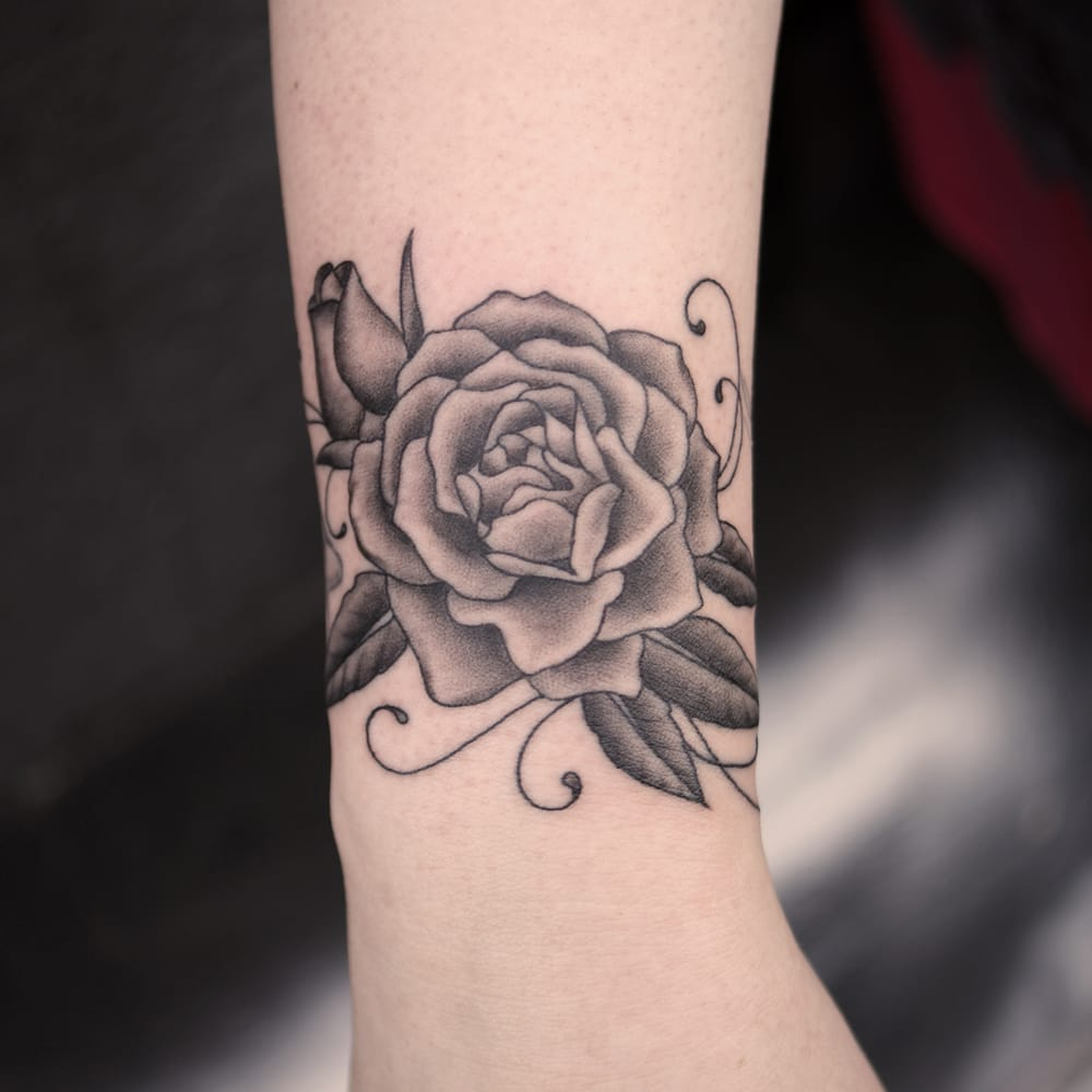 Black And Grey Rose Tattoo On Wrist By Justin Jakus Yelp