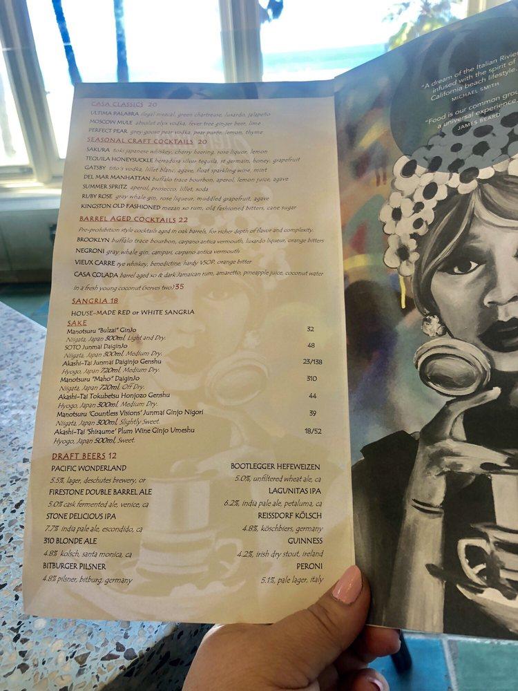 Online Menu Of Terrazza Restaurant Santa Monica California