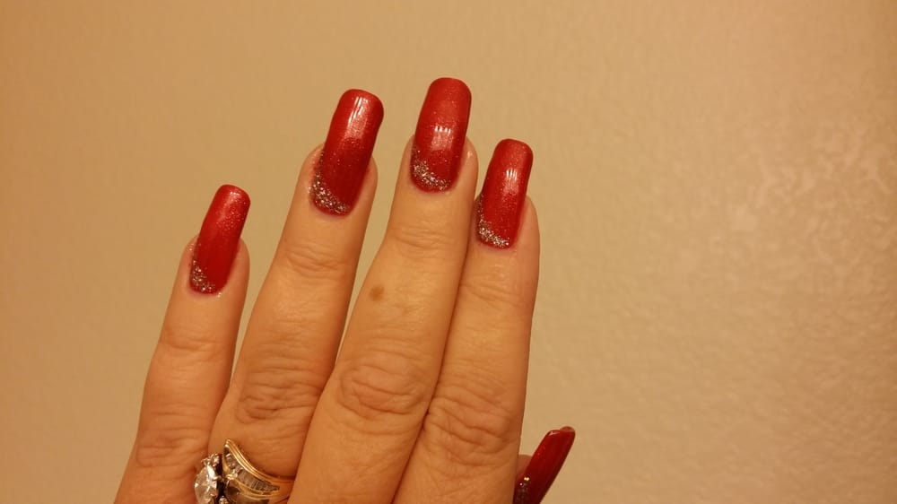 Silk wrap on natural nails with crystal gel polish in christmas photo of legends nails spa rancho cucamonga ca united states silk prinsesfo Images