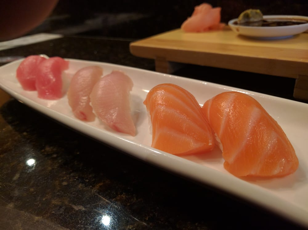 Salmon yellowtail and tuna nigiri yelp for Yellowtail fish sushi