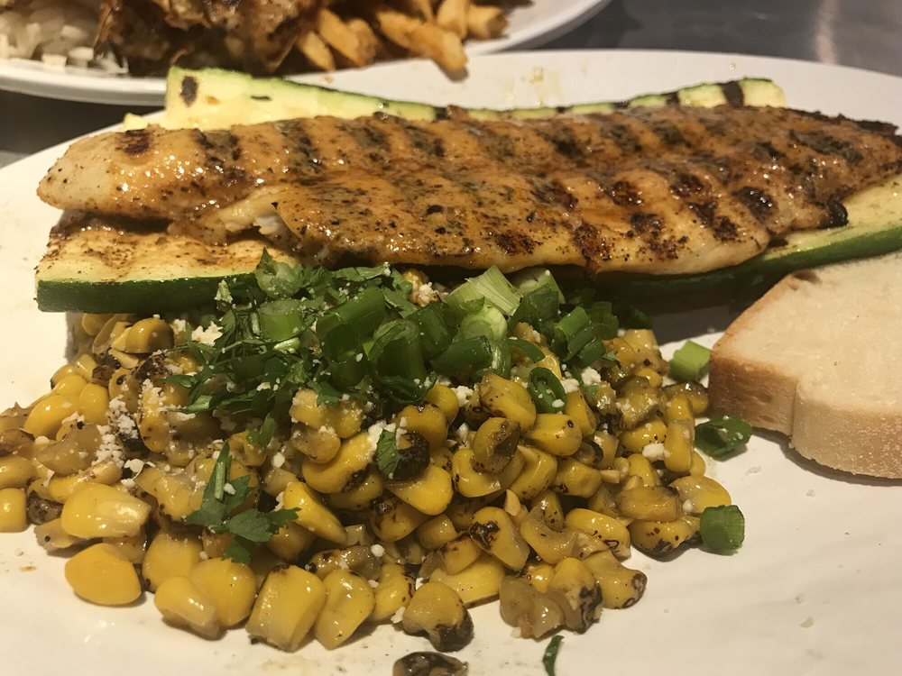 Swai with grilled zucchini and roasted street corn yelp for Fish grill los angeles